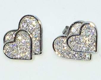 14k White Gold Layered Double Heart shaped CZ on 925 Solid Sterling Silver Stud Earrings ( 13 . 4 mm )