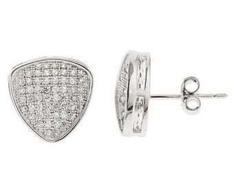 Triangular shaped CZ .925 sterling silver mirco pave stud earrings