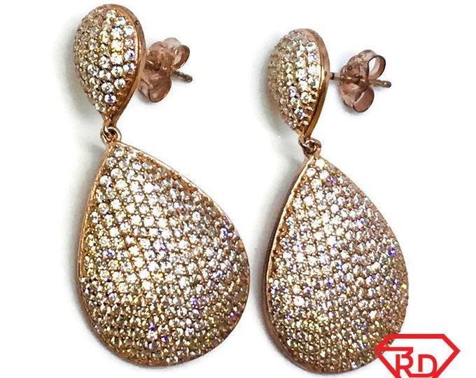 14K Rose Gold Layered on Sterling Silver Teardrops Dangling Earrings