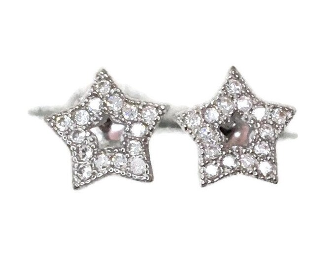 Brand new white gold on 925 silver studs earrings small star