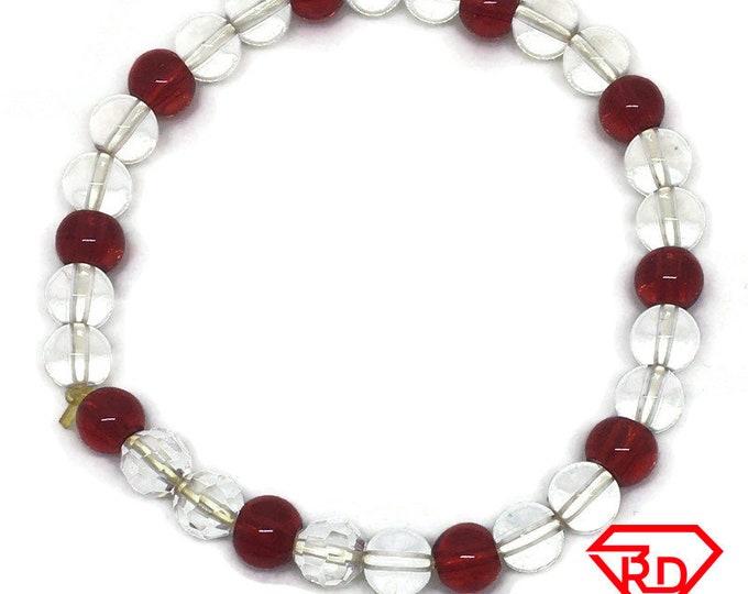Red & White Glass Crystal beads Elastic Bracelet