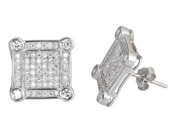 Square plus 4 round corner stones Cubic Zirconia 18k white gold on Sterling Silver Stud