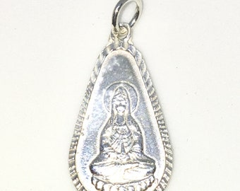 Brand New 925 Solid Sterling Silver Medium Pendant with Water drop shape and Praying Guanyin