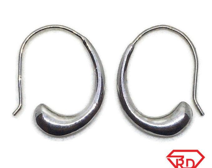 White gold on Silver dangle drop hook Earrings