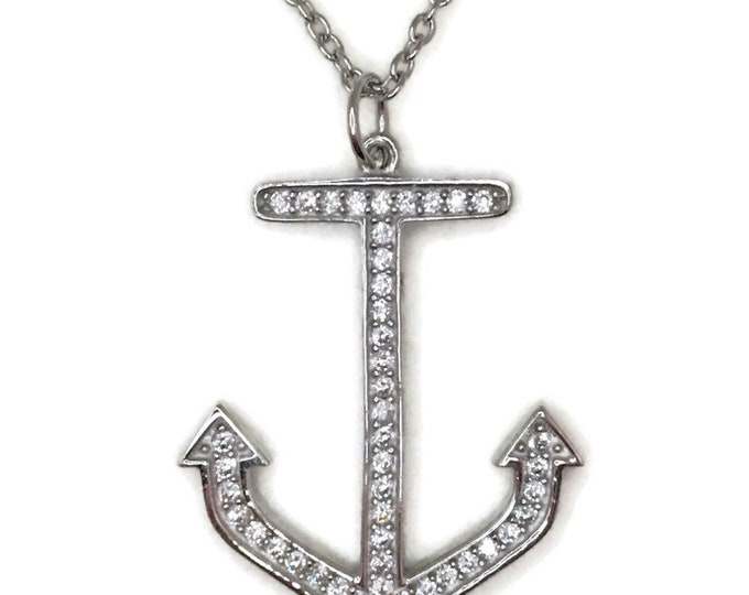 White Gold layer Silver Pendant large ship anchor & white round CZ