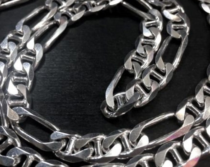 """New long solid sterling silver italian marina figaro chain necklace 8.1mm-30"""""""