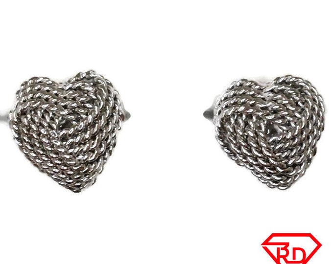 Heart Knot Stud Earrings White Gold on Silver