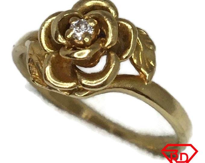 14K Diamond Rose flower ring of solid yellow gold