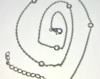 Brand New White Gold on 925 Solid Sterling Silver 16 inch Cable Chain and Cubic Zirconia Necklace with Lobster Claw Clasp and Extension