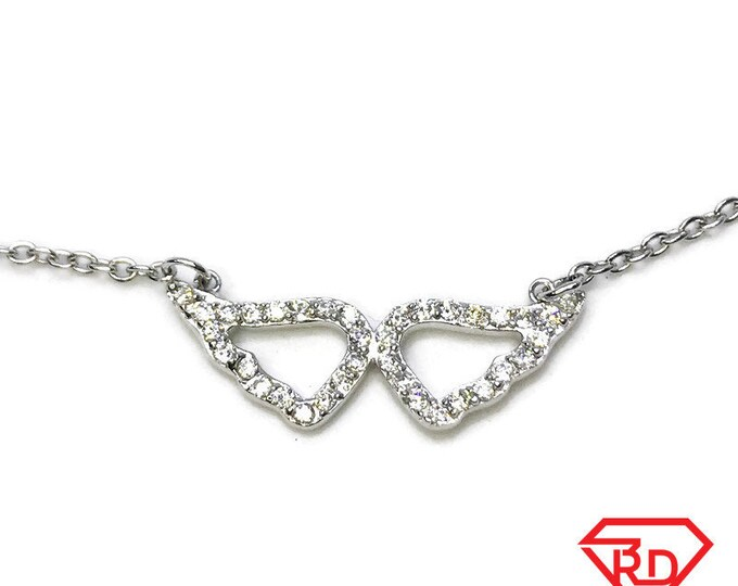 """NEW 14K White Gold Layered on .925 Sterling Silver Cz Angel Wings Necklace - 18"""""""