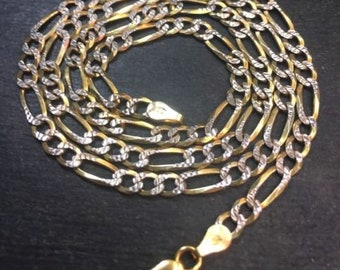 """New 14k y w gold layer on solid 925 figaro children kid necklace 3.7mm 18"""""""