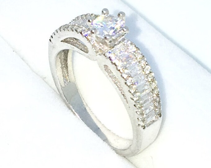 New Handcraft White Gold Plated on Sterling Silver ring band with row