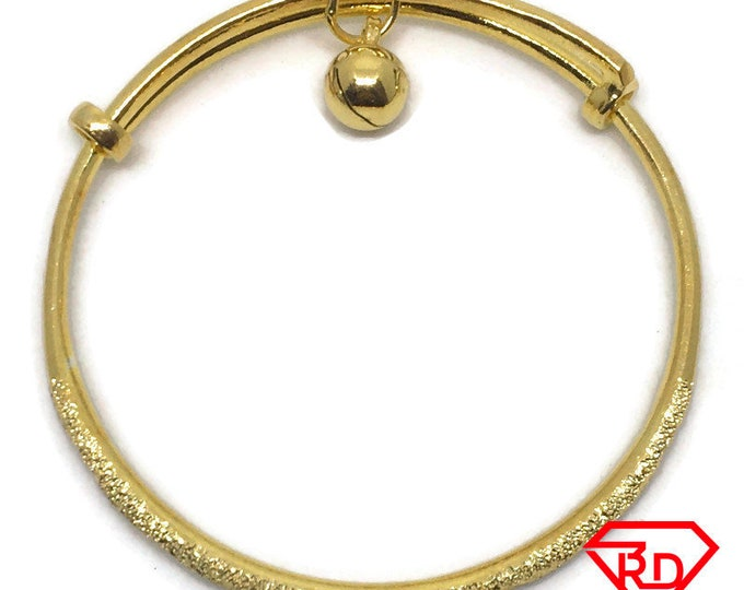 Double Bell diamond cut slip in Baby Bangle 14K Yellow Gold Layer