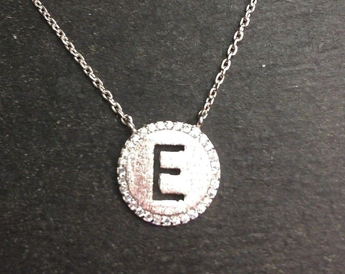 """14k layer on solid .925 silver letter """"e"""" cz handset cable link necklace: 16-18"""""""