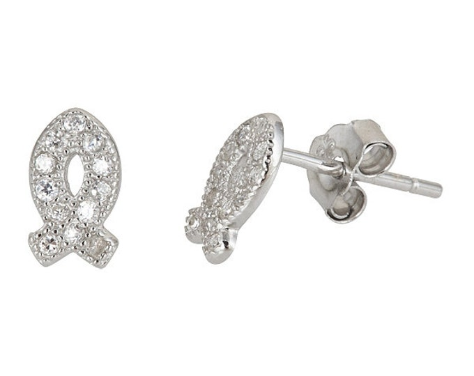 Magical Cute Fish .925 Sterling Silver Micro Pave CZ Stud Earrings
