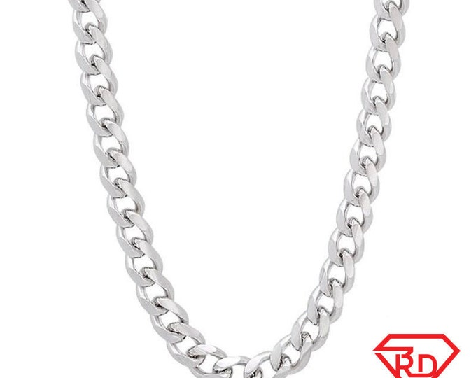 """14k White gold Layer on Solid 925 Sterling Silver Miami Cuban Chain- 2.8 mm- 24"""""""