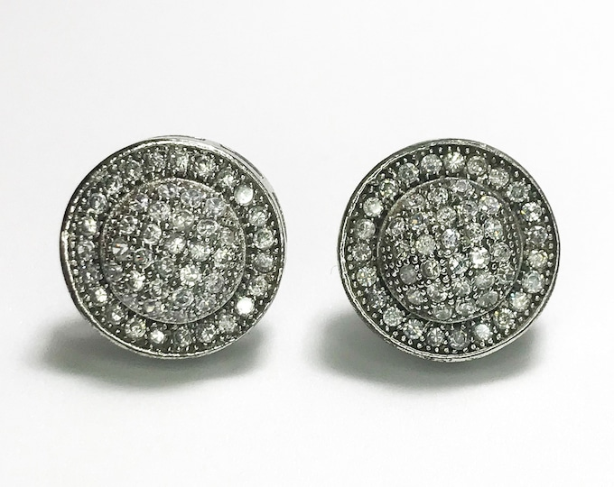 NEW 14K White Gold Layered on .925 Sterling Silver Halo Circle with Stones Earrings