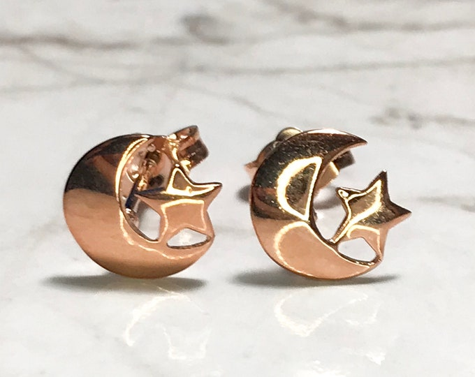 NEW 14K Gold Layered on Sterling Silver Moon And Star Stud Earrings