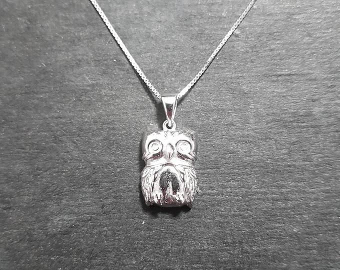 New 14k White Gold On 925 Cute Owl Charm Pendant