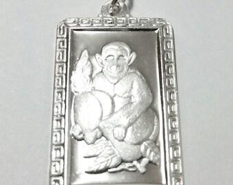 Chinese zodiac horoscope 999 fine silver rectangle year of monkey pendant charm