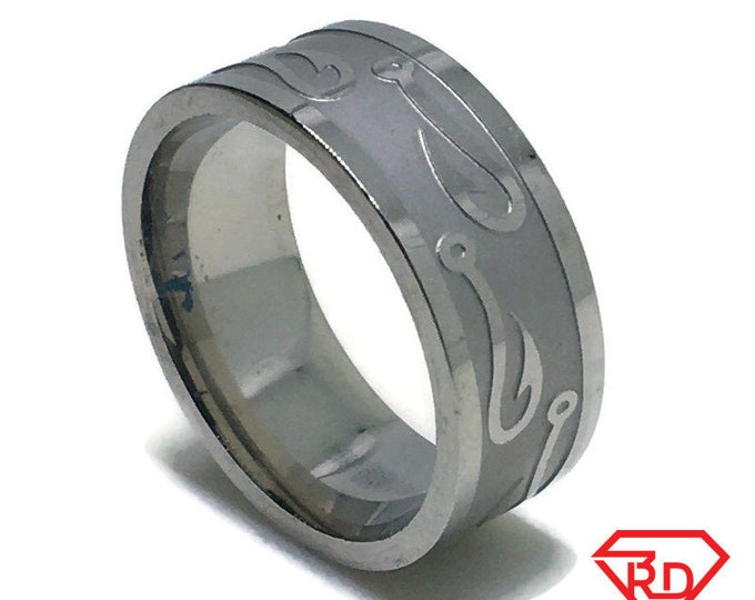 8 . 0 mm Brand New White Gold Plated with fisherman hook on Stainless Steel ring band