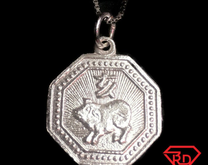 New small 925 silver Reversible Design Yin and Yang & Year of the pig / boar Chinese Zodiac octagon Charm Pendant