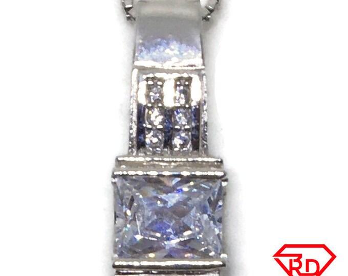 Princess Cubic Zirconia pendant white Gold on 925 silver
