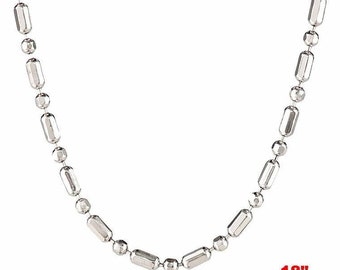 18k white gold layered over .925 sterling silver -1 mm 1+1 diamond cut chain - 18 ""