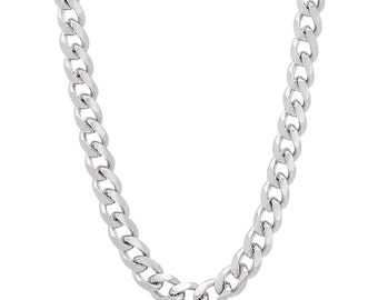 14k White gold Layer on Solid 925 Sterling Silver Miami Cuban Chain- 2.8 mm- 24""