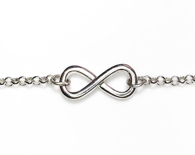 "NEW 14k White Layer On 925 Silver Cz Infinity Link Bracelet 1.9 mm -7"""