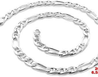 "Italy Solid Figaro Marina .925 Anti-Tarnish Silver Chain - 6.5mm 20"""