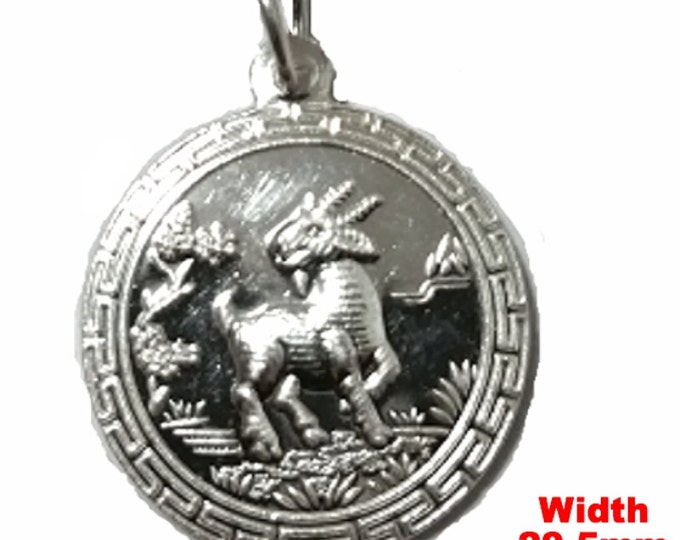 Chinese Zodiac Horoscope 999 fine Silver Round Year of Sheep / Goat Pendant charm