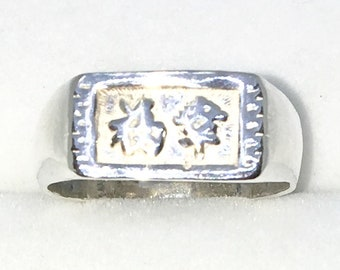 New Handcraft 925 Solid Sterling Silver ring band with Rectangle Shape and Lucky Chinese Letter