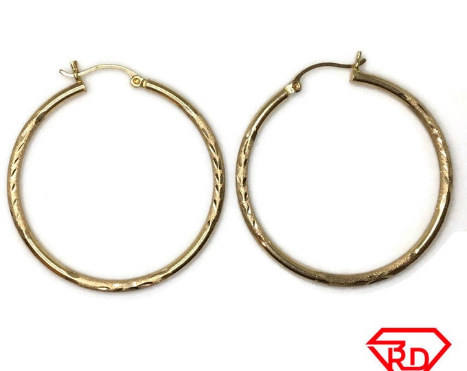 14K Hollow Hoop large diamond cut Earrings of yellow gold