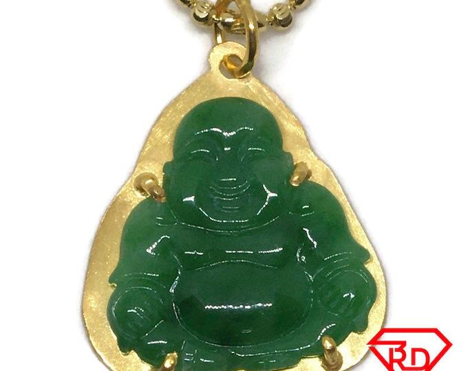 Budai Buddha Laughing green Jade Pendant 24K Yellow gold Plated