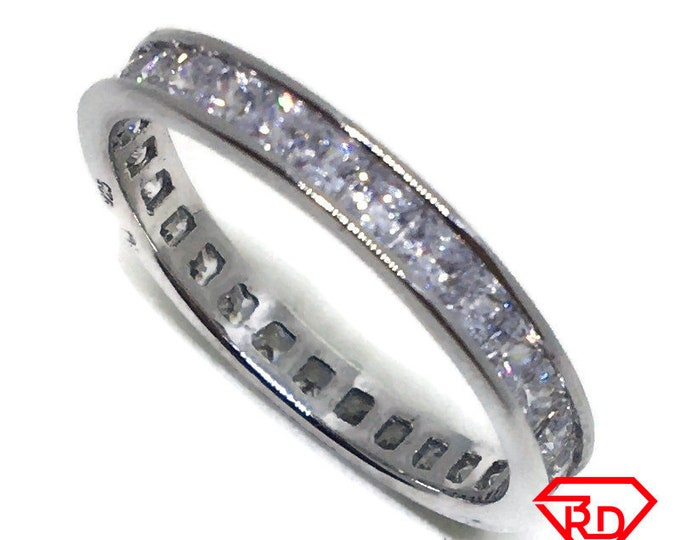 Princess Cubic Zirconia Ring white gold on Silver (size 7 . 75)