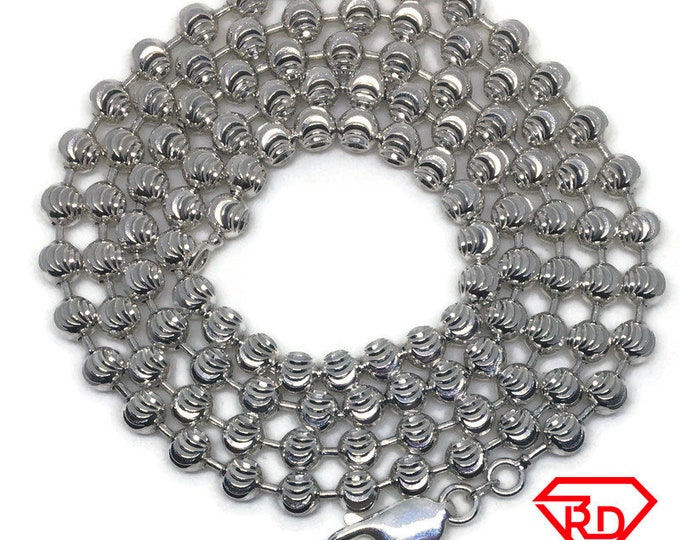 Moon cut Beads Chain 28 inch Necklace 925 Silver