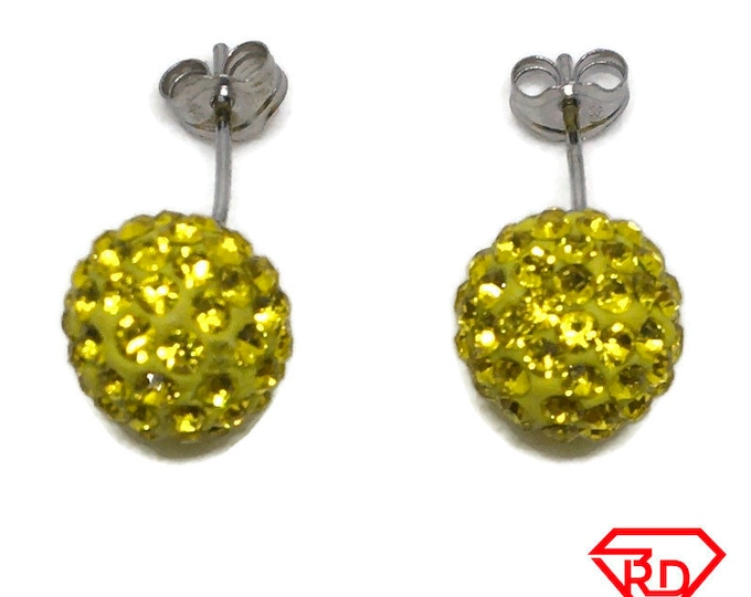 Yellow Disco Ball Crystal Medium stud Earrings White gold layer
