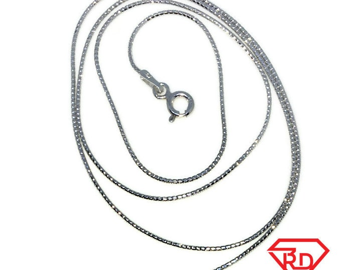 New White Gold Layered 925 Solid Sterling Silver 18 inch plain Snake Chain Necklace with Springring clasp