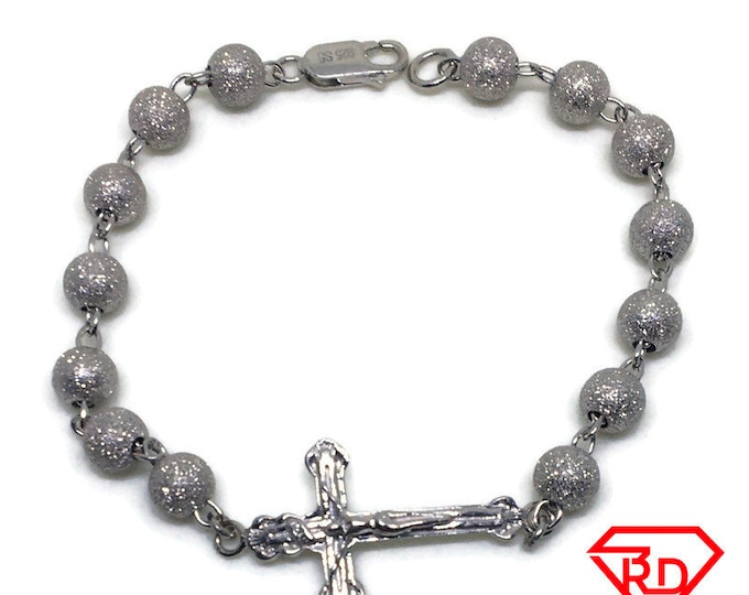 Rosary Bead Chain 8 inch Bracelet 14K White Gold Layer