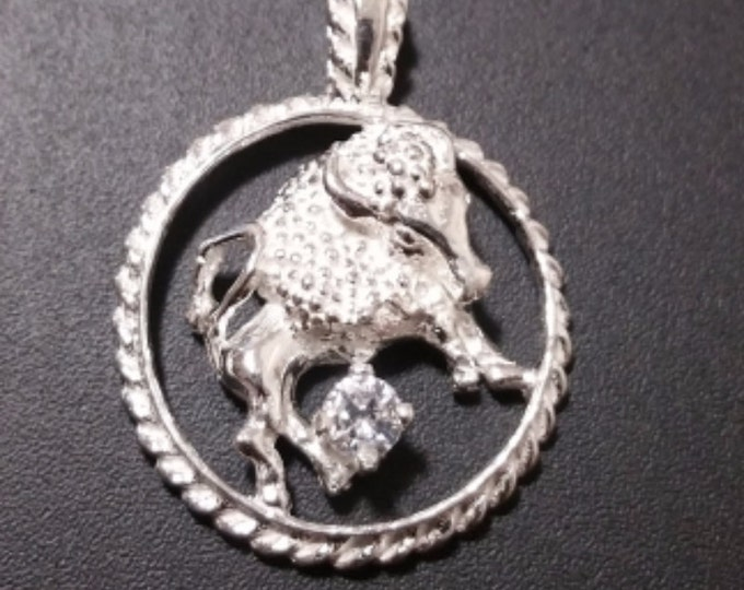 Astrology Zodiac Taurus Horoscope Birthday Anti Tarnish .925 Sterling Silver Pendant
