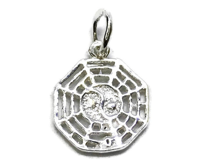 NEW 14K White Gold Layered on .990 Sterling Silver Ying Yang Lucky Web Chinese Pendant