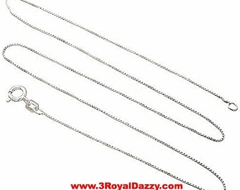 Italian Solid Anti Tarnish .925 sterling silver box link chain - 1.25 mm 16 ""