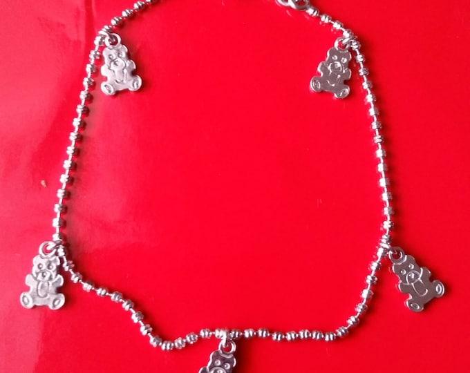 18k white gold layer on 925 Sterling Silver dangling Teddy Bear charms bracelet