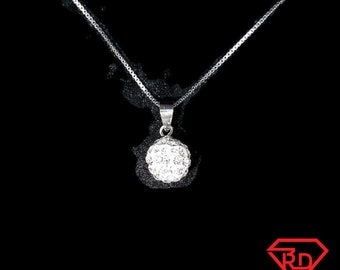 New 14k white gold on 925 sterling silver small cz disco ball pendant free chain