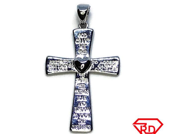 NEW 14K White Gold Layered on .925 Sterling Silver Jesus Christ Heart Cross Pendant
