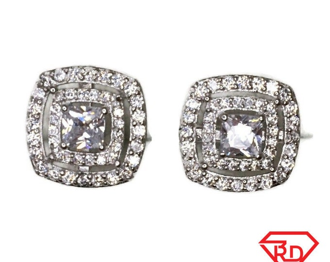 Brand New white gold on 925 Silver Studs Earrings Two layer square with white round and Princess CZ ( 12 . 0 mm )