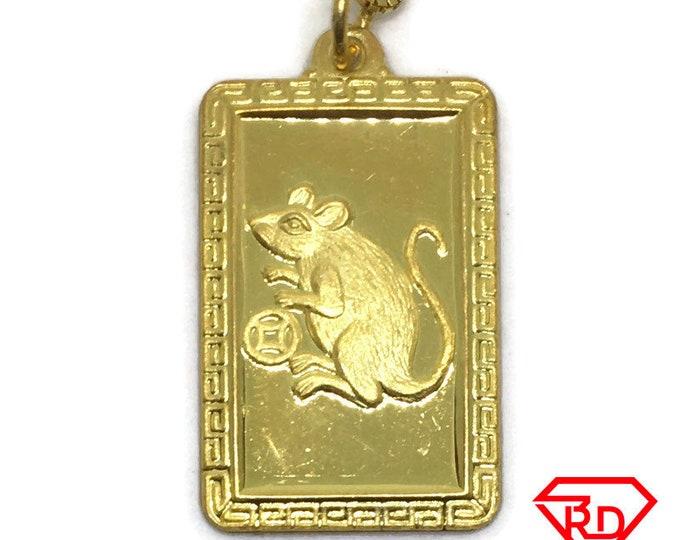 Rat Zodiac Rectangle charm pendant .999 Yellow gold Layer