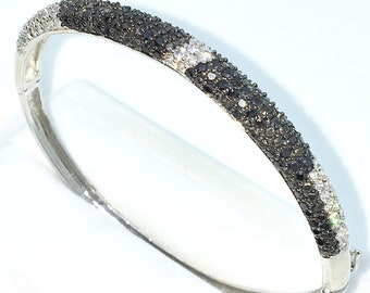 New White Gold Layered on 925 Solid Sterling Silver Oval Bangle Bracelets rows of White & black round CZ and Box clasp