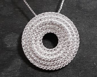 New 14k White Gold On 925 Five Layer Circle Charm Pendant